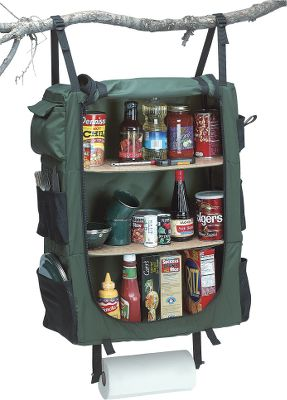Camp and Hike Keep your campsite's cook shack organized and clean with this weatherproof, collapsible cupboard. Extends to 30 , yet collapses to less than 2 high for easy packing. Lightweight, water-resistant 400-denier nylon shell features three 22 L x 10 D shelves for food, camp equipment or other gear. Six divided outer pockets provide quick access to utensils or other necessities. Hangs from a tent frame, tree, R.V. or anywhere you need a portable pantry. Straps also make for easy rigging to a rope, so it can be pulled high in the trees at night, safe from marauding woodland critters. - $69.99