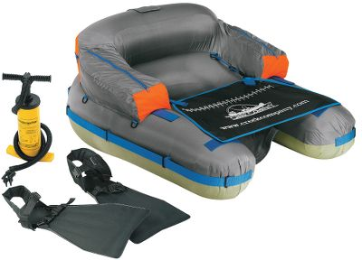 Fishing Combo includes new U-Boat 2000, one pair of lightweight fins and a double-action hand pump. Heavy-duty, 14-gauge PVC main bladder and separate backrest bladder are covered in abrasion-resistant 420-denier nylon. Patented tension straps maintain a true open front. Two side storage pockets. Stripping apron with measuring tape. D-rings for gear attachment. Rod-holder straps.Weight: 7 lbs. Weight capacity: 275 lbs. - $74.88