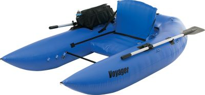 Fishing A real achievement in design and convenience an 8-ft. frameless pontoon thats actually affordable. Inflate the Voyager in less than three minutes and be amazed that its ultrafirm, highly-durable, 30-gauge, PVC bladder system holds its rigidity and shape so completely, you wont need to attach a bulky, complicated framework of tubes and straps. When youre done, simply deflate, and it easily compacts into the carry bag with side zipper, handle, shoulder strap and draining grommets. Rugged 30-oz. whitewater-raft cover material resists wear and tear for seasons of use. Inflatable chair with adjustable seat back and a footbar with six adjustment points maximize comfort. For onboard organization, use the large side storage pocket with rod and drink holders, a large rear storage area, 10 D-rings and stripping apron. Includes a double-action pump and two 5-ft, two-piece oars with fold-down oarlocks. Weight capacity: 400 lbs. - $399.88