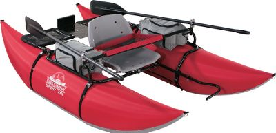 Fishing A compact, go-anywhere pontoon that can handle the most rugged terrain. The 8-ft. pontoons are covered in 840-denier nylon, and have tough PVC bottoms for increased abrasion resistance. Rugged, powder-coated steel frame and adjustable foot bars assemble without tools. Two compartmental storage pockets with four insulated drink holders keep your gear secure. Molded-plastic seat and two-piece, 6-ft. oars with clamp-on oarlocks. Tough 30-gauge PVC bladders fill in minutes using the included pump. Transom-motor mount accepts most trolling motors. Weight capacity: 375 lbs. Overall weight: 50 lbs. Color: Sport XR1. Type: Pontoons. - $349.99