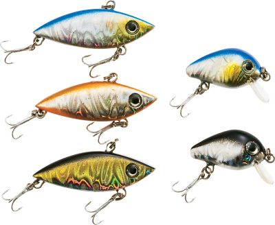Fishing Bring big-time fishing fun to your favorite small pond. These miniature-sized crankbaits (varying in size between 1to 1-1/2) are perfect for ponds and tiny lakes. Each has an erratic, swimming action for attracting all kinds of hungry fish. Features five of the best-selling hard bait colors on the market. Fishing instructions included on the box. Type: Crankbaits. - $6.74