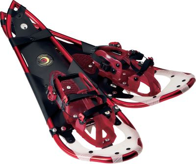 Optimized combination of maneuverability and float in a lightweight teardrop design makes these snowshoe an excellent choice for winter outings. Weighing in at only 4.95 lbs. per pair, they support up to 225 lbs. Single-pull-loop (SPL) bindings fit boot sizes 9 to 15. Three stainless steel crampons and traversing claws provide secure traction on slippery surfaces. Durable aluminum frame withstands rigorous trail conditions. Made in USA. Weight: 4.95 lbs./pair.Weight capacity: 225 lbs.Size: 32L x 10W.Color: Candy Apple Red. - $264.88
