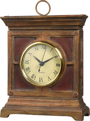 The look of a vintage all-wood clock at a fraction of the cost. Crafted of durable resin with a rugged red-pine finish. 7-1/4 clock face with precise quartz movements. Requires one AA battery (not included).Dimensions: 14-1/2H x 11-1/4W x 3D. - $39.99