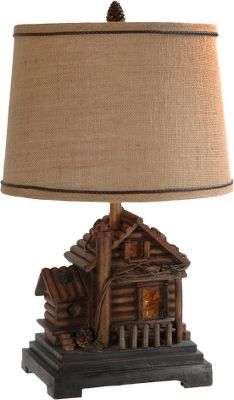 Skateboard Enjoy the warm rustic charm and mountain cabin style this exclusive Dick Idol lamp exudes. The base is meticulously crafted to evoke memories of your favorite wilderness hideaway. Completed with a natural burlap hardback shade, this lamp is sure to become a treasured eye-catching element of your interior dcor. Requires a 60-watt medium-base bulb for the main light (not included) and the base has a 7-watt candelabra base nightlight bulb (included)in the base to illuminate the cabin windows. Imported. Dimensions: 24-1/2H x 14 W. Color: Natural. - $164.99
