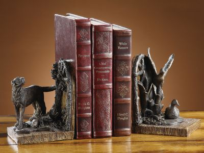 A rugged, functional addition to a waterfowlers home or office library. Bookends are made of durable cast resin and boast a rich, antique-bronze finish. Per pair. Dimensions: 5-3/4H x 4W x 4D. Color: Clear. - $49.99
