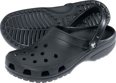 Entertainment Croslite material in stylized clogs with integrated ventilation ports keep feet cool when the heat kicks in. Footbeds conform to feet for a customized fit. Crocs straps keep them secure. Slip-resistant and nonmarking outsoles. Imported. Mens sizes: 8-13. Colors: Black, Chocolate. Size: 13. Color: Black. Gender: Male. Age Group: Adult. Type: Shoes. - $24.49