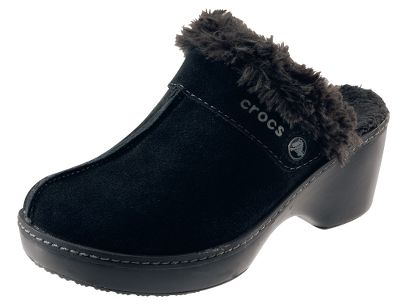 Entertainment Crocs Womens Cobbler Leather Clogs have durable and soft suede uppers that deliver top-notch appeal. Fuzzy cloth linings surround feet in cozy warmth. The cushioning Croslite bases boast durable rubber outsole pods for enhanced traction. Imported. Womens whole sizes: 6-11 medium width. Colors: Black/Black, Espresso/Black. Size: 11. Color: Black/Black. Gender: Female. Age Group: Adult. Material: Leather. Type: Clogs. - $69.99