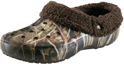 Hunting The classic Crocs you love with an all-over Realtree camo print. The fully-molded Croslite material construction provides maximum cushioning in a lightweight design. Fully lined for warmth and comfort with ventilation holes across the tops for breathability. Linings are a polyester/cotton blend. Imported.Mens whole sizes: 7-13 medium width.Camo pattern: Realtree. - $34.88