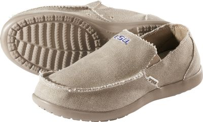Entertainment Slip into comfortable, easygoing shoes and support your favorite team. Lightweight canvas uppers. Elastic along the sides deliver a secure fit. Odor-resistant, ergonomic footbeds with tiny nubs massage with every step. Nonmarking Croslite outsoles form to your feet. Imported.Mens whole sizes: 8-13.Colors: Louisiana State, Nebraska. - $59.99