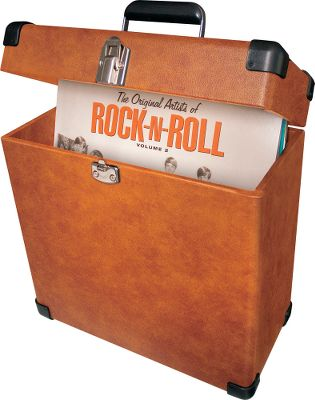 Identical to an LP storage box from the 60s, it holds 30 or more of your favorite albums and boasts a convenient carry handle for portability. Sturdy and vinyl wrapped, the carrier case sports heavy-duty hinges, corner guards, a chrome snap closure and a durable metal and resin handle. Imported.Dimensions: 13.75L x 6.75W x 14H. - $69.99