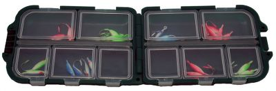 Fishing A handy, pocket-sized tote that's perfect for ice jigs, flies and other small tackle items. It has 10 compartments that are individually latched and sealed. Dimensions folded: 3-1/4H x 2-1/2W x 1D. Type: Tackle Box. - $3.99