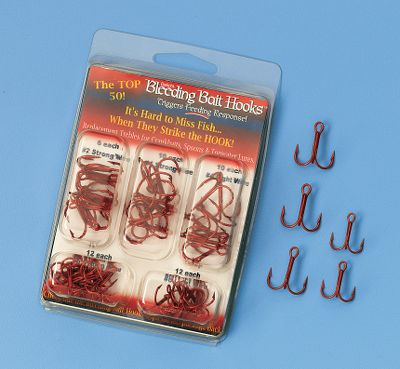 Fishing A selection of the top 40 Bleeding Bait treble hooks. Round bend hooks with X-Treme welds. Kit includes: 10- Size 4, light wire 10 - Size 4, 4x wire 7 - Size 6, light wire 7 - Size 6, 4x wire 6- Size 2, 4x wire - $10.99