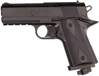 Hunting A 15-shot semiautomatic BB pistol based on a compact Model 1911. It has a 3/8 dovetail mount for mounting optics on top and a tactical rail for a light or laser in front of the trigger guard. Power comes from a standard CO2 cylinder that shoots .177-caliber BBs at velocities up to 480 fps. Manual trigger-block safety. Blade and ramp front sight, fixed rear sight.Weight: 1 lb.Overall length: 7.21 in. - $31.88