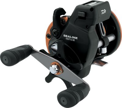 Fishing A great trolling reel for the price, this precision-built Daiwa Sealine B Linecounter Reel features a built-in Sealine linecounter that measures in feet. The spiral-cut gears mesh perfectly for strong cranking power while the tough, fish-fighting three-ball-bearing Power Mesh drive permits slick line payout. U.T. drag system delivers smooth, fade-resistant control, and a loud spool click keeps you in tune to your line. One-piece composite frame with machined-aluminum spool. Automatic, self-engaging clutch. Models 17 and 27W come with a double-paddle handle. Type: Trolling Reels. - $109.99
