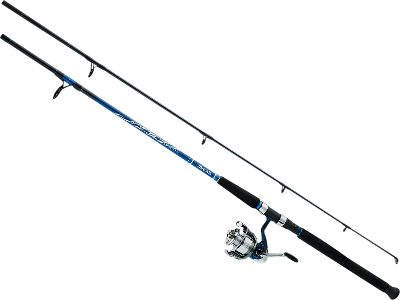 Fishing Cast out with this affordable saltwater spinning combo, and brace yourself for the bone-jarring strikes of the oceans predators. D Wave Saltwater Spinning Reels boast a gyro-spin rotor and the smooth-running performance of a three-ball-bearing drive with one roller bearing. The Twist Buster II system reduces snarls by keeping the line from twisting. D Wave Rods come equipped with aluminum-oxide guides for friction-free casting. The stainless steel hooded graphite reel seat locks the reel in with uncompromising strength. EVA foam grips deliver the soft comfort needed for hours of casting. All are medium-action, two-piece rods. Images depict the style of the rod handle and may not fully represent the actual length. Daiwa D Wave Saltwater Spinning Reel Reel Model Line Capacity (yds./lb.) Bearings DWA40-3Bi 260/12 3+1 DWA50-3Bi 230/17 3+1 Color: Stainless Steel. Type: Saltwater Spinning Combos. - $49.99