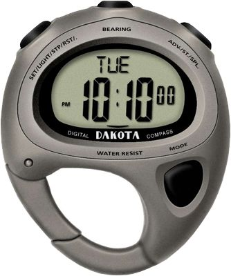 Youll never find yourself going in circles again when you have the clip-on Dakota digital watch and compass. The electronic compass has 16-position digital direction indication with global degree, and the entire unit has six operation modes: compass, time, date, chronograph, timer and alarm. The lightweight plastic construction makes it virtually unnoticed on your belt loop or pack. 12/24-hour display format and 1/100-second chronograph. Moonglow E.L. dial light. Waterproof to 100 feet.Case diameter: 50mm.Colors: Grey, Blue. - $24.99