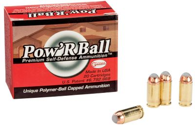 Guns and Military PowRBall bullets have the reliable feeding, consistent expansion and deep penetration personal-defense situations require. The patented PowRBall JHP bullet, with its streamlined polymer-ball tip, was originally designed to eliminate feeding problems in finicky semiautomatics. The polymer ball has other advantages in all handgun chamberings, however, including controlled expansion for deep penetration and lighter bullet weights for reduced recoil and higher velocities. Per 20. Type: Centerfire Handgun Ammunition. - $16.99