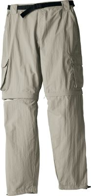 Versatile, rugged and lightweight pants ready for any warm-weather outdoor adventure. Crafted of moisture-wicking, fast-drying nylon, theyre treated to resist UV rays. Legs zip off to convert the pants to shorts in seconds. In addition to the mesh-lined side pockets, there are rear pockets and a cargo pocket on each leg. Durable 1-wide nylon belt included. Imported.Pants inseams: 31, 33.Shorts inseam: 9.Sizes: S-XL.Colors: Khaki, Dolphin. Waist: Small. Type: Pants/Shorts. Inseam: 33. Color: Khaki. Waist Small. Inseam 33. Color Khaki. - $7.88