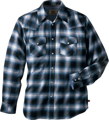 As the weather turns colder, fight off the chill with this 6-oz. cotton flannel shirt. The vintage wash, Americana plaid styling with easily rollable sleeves will fit right into your comfortable, casual lifestyle. Features snaps; two chest pockets; and chambray collar, yoke and cuffs. Imported. Sizes: M-2XL. Colors: Indigo, Chili, Forest.Dakota Grizzly Style No.: 47319. - $24.88