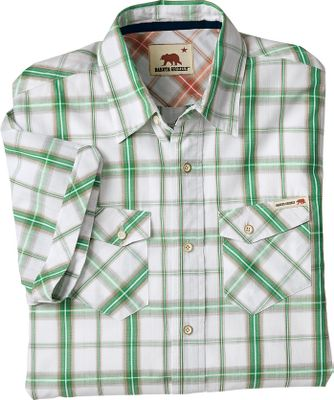 Entertainment Grizzly shirts make it easy to put on authentic summer style. This shirt is made of 100% recycled cotton gingham, a breathable fabric that wears well and is easy to clean. Featuring bamboo buttons and a contrasting yoke with an inside placket. Imported.Sizes:M-2XL.Colors: Pine, Berry, Navy. Type: Short-Sleeve Shirts. Size: Large. Color: Berry. Size Large. Color Berry. - $13.88