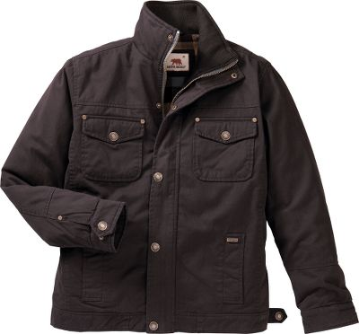 This brawny and water-resistant jacket is made of waxed cotton twill with a stylish tall collar and button-shut chest pockets. The red plaid flannel lining will keep you warm, while the button- and zip-shut fronts storm flap keeps chilly wind at bay. All of this makes this a great everyday jacket for cooler termperatures. Handwarmer pockets. Imported. Sizes: M-2XL.Colors: Java, Olive.Dakota Grizzly Style No.: 55700. - $29.99