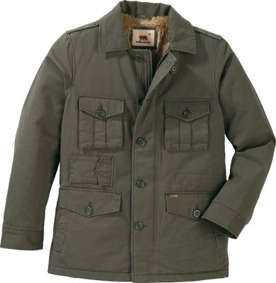 The military-style cut and color of this jacket is stylish without lacking in warmth and functionality. The cotton bedford canvas shell has five pockets plus handwarmer pockets to safely tote any small necessities. Faux-fur fleece lining in the body and nylon taffeta lining in the polyester-insulated sleeves keep you comfortably warm. Imported.Sizes: M-2XL.Colors: Ink, Military.Dakota Grizzly Style No.: 52700. - $54.99
