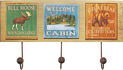Warmly greet guests to your home or lodge and give them a convenient place to hang their coat and hats. Each of these wood signs has a vintage look that fits outdoor-themed dcor. Three metal hooks. Dimensions: 9.75H x 17.25W x 2.25D.Available: Lodge, River. - $4.88