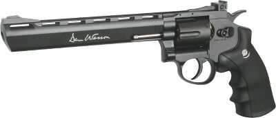 Its massive frame and 8 barrel duplicate the heft of its magnum centerfire cousin. This CO2-powered version fires 4.5mm metal BBs at 426 fps for hours of plinking fun. It fires in double-action for fast-paced action. Adjustable rear sight. Extra-comfortable ergonomic rubber grip. Easy-loading six-round magazine. - $109.88