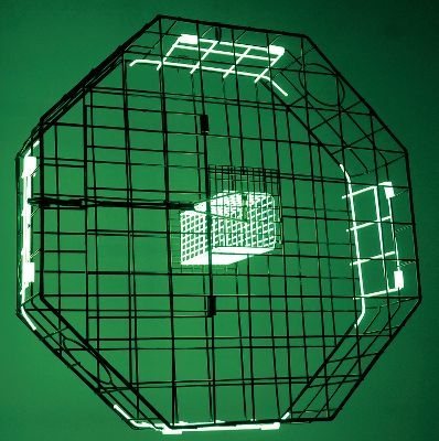 "Fishing Its field-proven octagon shape traps crabs on four sides, and it also lures lurking crustaceans with glow-in-the-dark bait-cage walls and trap doors. Large top-opening hatch with convenient stretch-tube-and-hook closure. Two escape rings cull undersized crabs. Fall-away rot cord system disables the trap if its unrecoverable. Durable vinyl-coated steel-wire construction. 30""L x 30""W x 9""H. - $69.99"