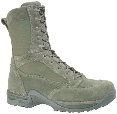 "These hot-weather boots feature rapid-drying, odor-eliminating Dri-Lex linings, the comfortable Terra-Force X platform and Approach TFX lightweight outsoles. Rough-out full-grain leather/1,000-denier nylon uppers. Imported.Height: 8"". Average weight: 3.63 lbs. per pair. Men's sizes: 6-14 medium width, half sizes to 12; 6-13 wide width, half sizes to 12. Color: Sage. - $179.99"