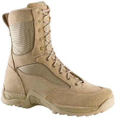 "Sleek, comfortable foot-hugging boots made for soldiers pursuing combatants over diverse desert terrain. These hot-weather boots feature Dri-Lex liners for cool, dry hot-weather comfort, Danner's Terra-Force X support system with lightweight Approach TFX outsoles and rugged, breathable rough-out leather/1,000-denier nylon uppers. Meets military requirements of 670-1 Optional Wear. Imported.Height: 8"".Weight: 2.7 lbs.Women's sizes: 5-11 medium width, half sizes to 11.Color: Tan. - $179.99"