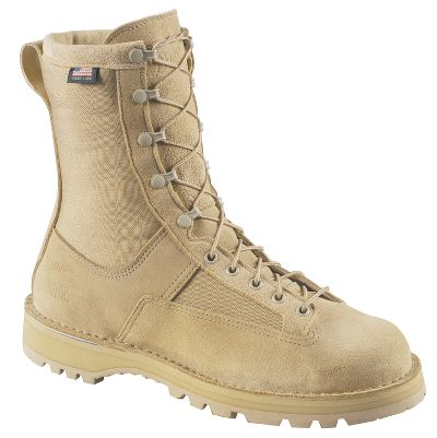 "Danner builds these ready-to-serve military boots in America for American soldiers, sailors, airmen and Marines. Rough terrain won't phase the rough-out full-grain leather/1,000-denier nylon uppers. 100% waterproof, breathable GORE-TEX provides all-weather comfort. Thick, cushioned footbeds and reliable Vibram Sierra outsoles, along with Danner's famous stitchdown construction, ensure comfortable stability across any terrain. Made in USA.Height: 8"".Average weight: 4.2 lbs./pair.Men's sizes: 3-16 narrow, medium and wide widths. Half sizes to 11.Color: Tan. - $299.99"
