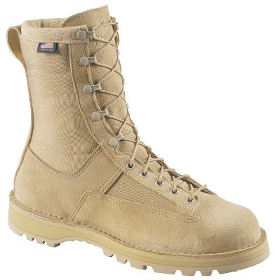 "Danner builds these ready-to-serve military boots in America for American soldiers, sailors, airmen and Marines. Rough terrain won't phase the rough-out full-grain leather/1,000-denier nylon uppers. 100% waterproof, breathable GORE-TEX provides all-weather comfort. Thick, cushioned footbeds and reliable Vibram Sierra outsoles, along with Danner's famous stitchdown construction, ensure comfortable stability across any terrain. Made in USA.Height: 8"".Average weight: 4.2 lbs./pair.Women's sizes: 5-11 medium width, half sizes to 11.Color: Tan. - $299.99"