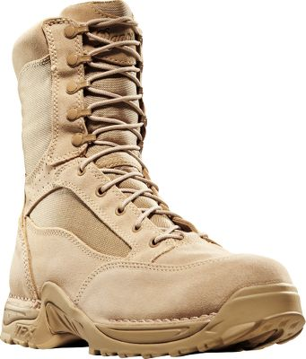 Military inspired, these hot-weather boots are designed to keep soldiers on their feet in demanding conditions. The rugged, 1,000-denier nylon uppers are backed by an airy, breathable mesh linings that let cool breezes in and allow moisture to escape. Patented, lightweight Terra Force X platforms that provides an athletic fit, comfortable ride, side support and protection from foot fatigue during grueling hikes over difficult terrain. Approach TFX outsoles deliver improved acceleration, downhill braking and side hill traction with beveled lugs that prevent buildup of mud, dirt and debris. Quick-fitting speed lace system. Imported.Height: 8. Average weight: 3 lbs. 8 oz./pair. Mens sizes: 7-14 D and EE widths. Half sizes to 12.Color: Tan. - $179.99
