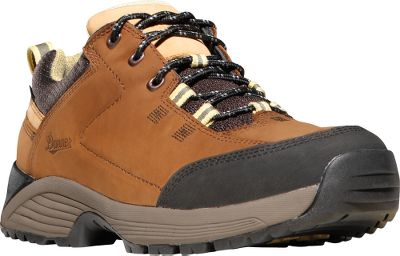 Camp and Hike Get full-featured hiking-boot performance in a low-cut trail shoe. The uppers are crafted of full-grain leather for long-life and protection from the elements. Backed with 100% waterproof and breathable GORE-TEX linings, theyll keep feet dry in wet, muddy conditions. Abrasion-resistant toe caps add an extra measure of security in this high-wear area. An EVA dual-density platforms provide athletic performance with maximum support and cushioning and combine with co-molded ESS plates for underfoot protection. Synergy system locks the heels into the pocket for an optimized responsive fit. Trailguard outsoles feature unique acceleration and braking zones combined with traditional lug patterns in the center of the foot for superior traction on varied surfaces. Imported.Height: 3. Average weight: 2 lbs. 7 oz./pair Womens sizes: 5-11 medium width. Half sizes to 10.Colors: Gray, Brown. - $129.99