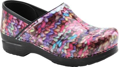 These clogs feature the contoured midsoles that cradle and support your feet that Dansko flagship clogs are famous for, with the addition of a photorealistic, funky, knit-pattern finish. Anti-fatigue rocker bottoms keep you going all day long, and roomy toe boxes allow toes to move freely. The superior shock absorption and firm foot and arch support are comparable to athletic footwear. Leather uppers have antimicrobial linings. The stapled outsoles carry the seal of acceptance from the American Podiatric Medical Association. A polycoat finish gives these their high, patent-leather shine and dresses up this classic design. Smooth finish easily wipes clean. Imported.Heel height: 2.Womens European sizes: 37-41 medium width.Pattern: Multicolored Knit. - $139.99