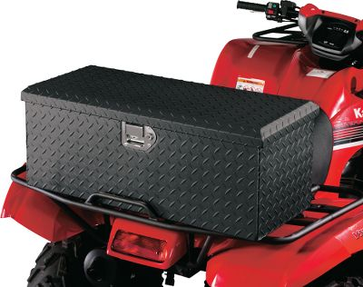 Get the equipment protection youd expect from a truck toolbox. The gas-strut-supported lid opens effortlessly and features a weather- and dust-resistant Climate Lock seal. Its made of all-welded 15-gauge aluminum with a no-glare-black, powder-coated finish and raised diamond-tread texture. Sturdy, key-latch lock secures the lid. Hardware not included. Fits fronts or rear racks of most ATVs. Dimensions: 30L x 12W x 11H. Gender: Male. Age Group: Adult. - $169.99