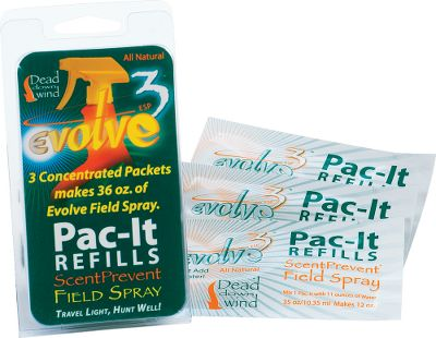 Hunting Just add water each Pac-It makes 12 oz. of Evolve Field Spray. These featherlight packets are ideal for backcountry or traveling hunters. Dead Down Wind's ScentPrevent Nanozyme technology attacks and eliminates a broad spectrum of odors at the molecular level. Human scents, gas, smoke and other potential contaminants capable of spoiling a hunt can't stand up to this scent-eliminating defense. In fact, Nanozyme destroys odor molecules before they can attach to skin or clothing! Per 3. - $4.88