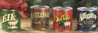 Hunting This is the perfect holiday gift for dedicated outdoor adventurers. Our truly unique Canned Meat Gift Set lets you experience wild, unforgettable flavors that only the old west could inspire. All contents are fully cooked. Just heat using the serving instructions.Includes: One 7.5-oz. can of each of the following: elk au jus, buffalo au jus, cajun-style alligator and smoked rattlesnake. - $24.88