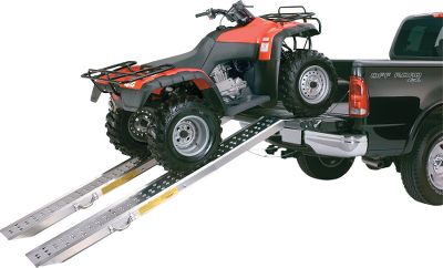 "The quick, easy and safe way to load ATVs, motorcycles and other equipment into the bed of a pickup truck. These Folding Aluminum Ramps weigh 17 pounds apiece and have a 1,000-pound distributed load capacity per ramp. They fold in half and have a carry handle for easy transportation. All DuraLoader Ramps have a Sure-Grip loading surface for sure traction, Wheelguider edges to help prevent wheels from sliding off and a rubberized tailgate protector. Safety chains are included. Per pair.Dimensions:Extended - 87-5/8""L x 13-1/2""W x 4-1/2""DFolded - 56-1/4""L x 13-1/2""W x 4-1/2""D - $149.88"