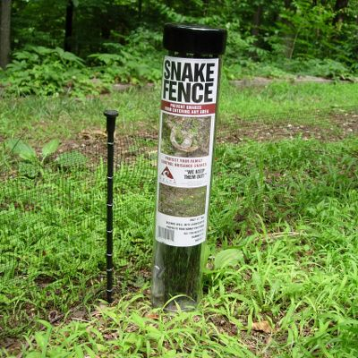 "Camp and Hike Finally, the ultimate solution to keeping copperheads, rattlesnakes, rat snakes or any snake out of your yard. Durable 12""-high fence provides a permanent obstacle snakes can't and won't cross or climb. Create a perimeter fence or build a barrier to direct snakes away from anywhere you don't want them. Snakes caught in the fence can be safely and easily dispatched. Material and stakes blend into the landscape. Sold in 25-foot lengths with all hardware and instructions included. All you need is a hammer to install. - $39.88"