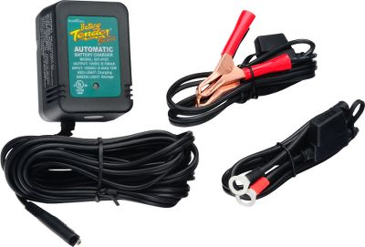 The Battery Tenders compact size makes it ideal for use with ATVs, motorcycles, boats, PWCs or campers. Automated charge sensor detects battery voltage level ensuring optimum charge. Ideal for use with all lead-acid, sealed maintenance-free and gel-cell batteries. Also features complete four-step charging program (initialization, bulk charge, absorption mode, float mode). Reverse-polarity protected. 50-state approved.Includes12-ft. output cord, quick-connect harness and limited five-year warranty. Available: Battery Tender Plus 1.25-amp charger with 100 to 240VAC input at 50/60Hz. 72-hour safety timer. Battery Tender Jr. 0.75-amp charger with 120VAC input at 60Hz. 80-hour safety timer. Solid-state, two-color LED indicates charger usage. Two-Bank Tender Two 1.25-amp chargers with 120VAC input at 60Hz. Two independent charging stations. Microprocessor-controlled constant-current charging. Battery Meter For use on 12-volt flooded, AGM and gel-cell batteries. Display voltage range: 3 to 16. Type: Battery Chargers. - $14.99