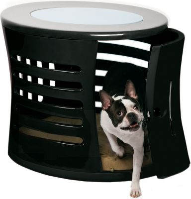 Entertainment A handmade, polished fiberglass, designer dog den for your furry companion. Durable and lightweight, this piece features a tempered-glass top for placing room dcor. Sleek and smooth design maximizes your pets comfort. Removable door allows them to come and go. Large vents ensure adequate airflow. Sizes: Small (21-1/2H x 19-1/2W x 28D), Medium (26H x 25W x 35D). Colors: Black, Red, Green, White. Size: S. Color: White. - $579.99