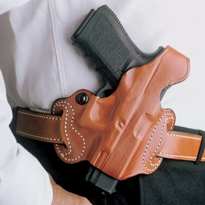 Form-fitting, Thumb Break Mini Slide Holster will hold your Ruger SR9 or SR9 Compact securely and at ready. Made of premium saddle leather with double seams and a detailed molded fit. Adjustable tension screw. Exposed muzzle. Available in tan unlined leather. Two-slot holster accommodates belts up to 1-34 wide. Type: Concealed Carry. Model: Beretta Nano. Hand: Right. SKU #: 03441525. Beretta Nano. - $34.88