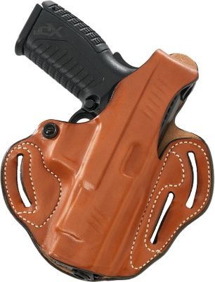 Crafted of high-quality leather molded to conform to your handgun, this holster holds your firearm in a high-ride position at the optimum angle for a fast draw. The precise shaping teams with a thumb break and tension screw device to hold your firearm securely. Fits belts up to 1-3/4 wide. Made in USA. - $59.99
