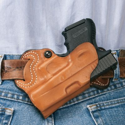 With concealed carry laws and regulations becoming more commonplace, many firearms enthusiasts find themselves in need of a way to discreetly and safely carry a handgun. DeSantis Concealed Carry Holsters give you a variety of choices to carry on your ankle, on your belt, or behind your back. The S.O.B. (Small of Back) secures your handgun in one of the most discreet carry positions. Unlined leather construction with 1-3/4 belt slots and tension device for a secure fit. Type: Concealed Carry. - $69.99