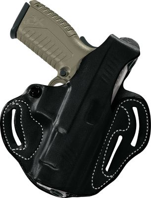 Holds your handgun high for added concealment and ready to deploy at an optimum draw angle. Thumb break and custom molding keeps firearms in place. Premium saddle leather construction. Some models features adjustable tension screw for added security. Accommodates belts up to 1-3/4 wide with two or three slots, depending on model. Color: Black - $39.88