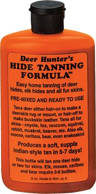 Hunting Create your own hides and furs with this professional pre-mixed formula. It works on all fur skins and hides, even with the hair on, and produces a soft, supple tan in just 4-7 days. One 8-oz. bottle will tan one deer hide or two fur skins. Color: Tan. - $19.99