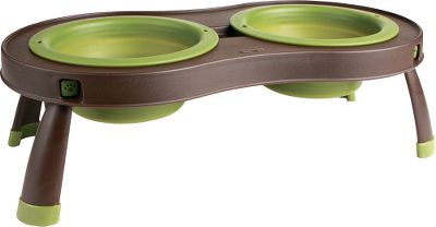 Hunting Elevated food and water bowls reduce strain on your pets back. Great for use at home or for travel bowls and platform collapse to just 1.5H for travel or storage. Dishwasher safe for easy cleaning. Each bowl has a 2.5-cup/20-oz. capacity. Brown platform with green bowls.Dimensions: 16.25L x 8.5W x 5H. Type: Pet Feeders. - $24.99