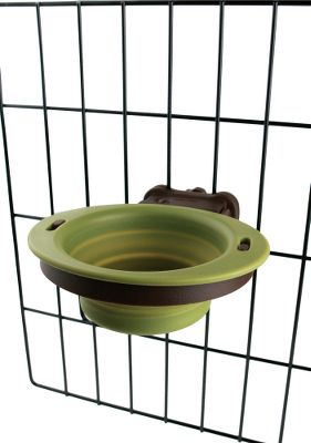 Hunting Great for pets on the go, the collapsible bowl pivots up and locks in place when not in use. Quickly and easily mounts to most wire kennels. Dishwasher safe. Brown housing with green bowl.Available:Small - 1 CupLarge - 2.5 Cups Type: Dog Bowls. Size Small. - $8.49